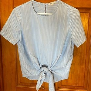 Blue and White Pinstripe Tie Front Blouse
